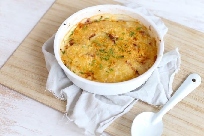Aardappelgratin met spek en ui