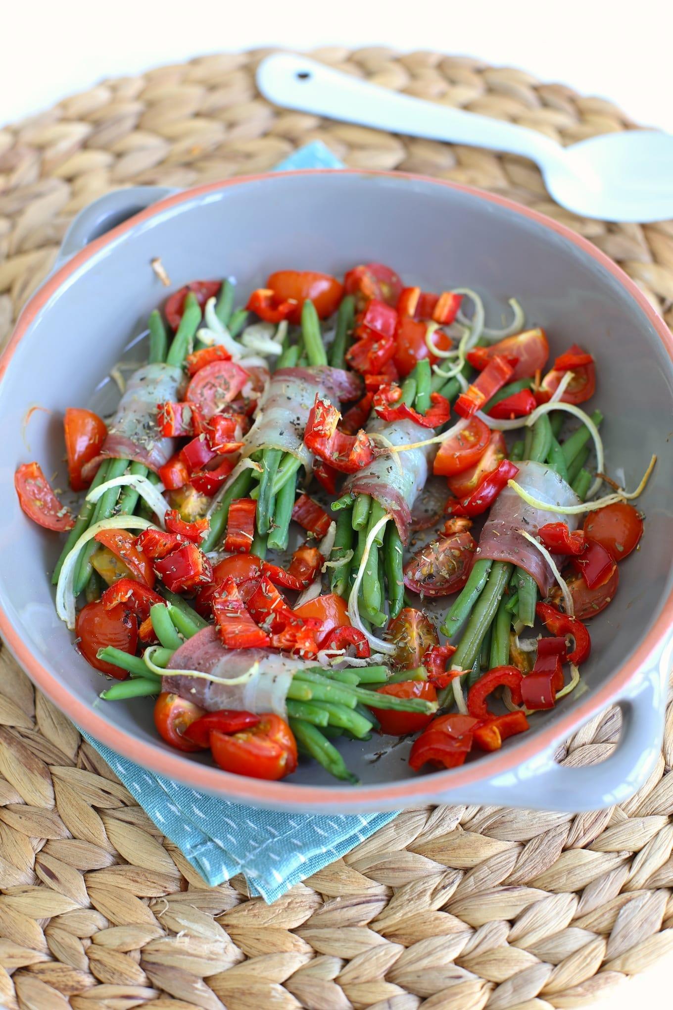 Haricots verts met tomaatjes uit de oven
