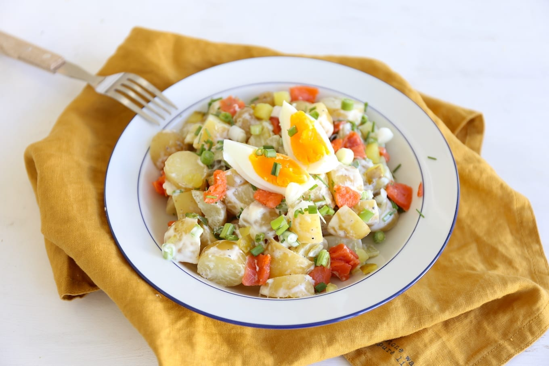 Aardappelsalade met gerookte Alaska zalm