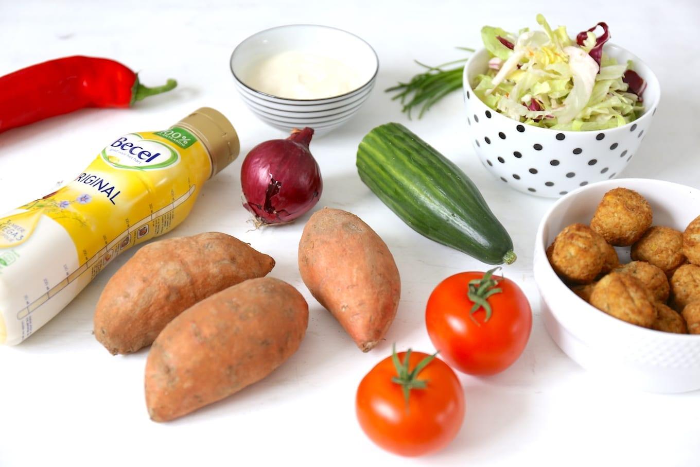 Kapsalon met zoete aardappel