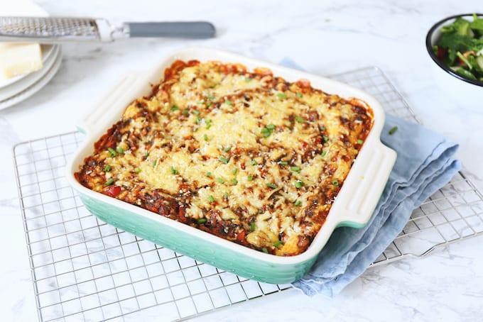 Lasagne bolognese boordevol groenten