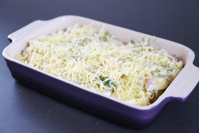 Witlof-ovenschotel met ham en kaas