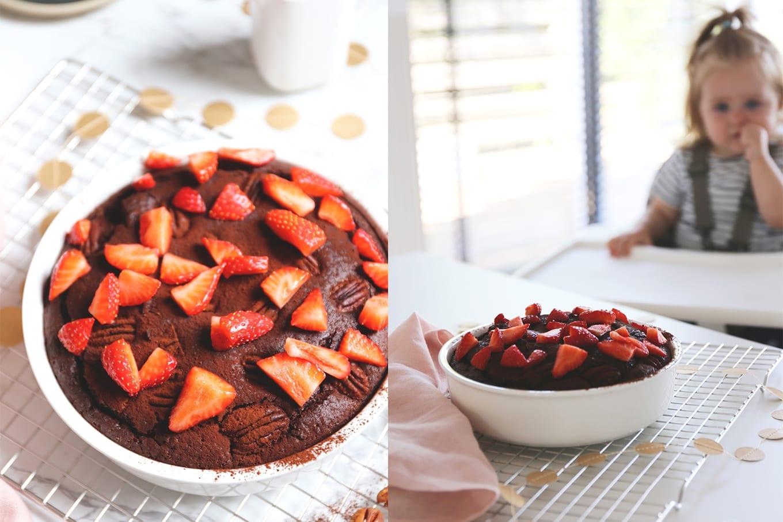 Brownie met aardbeien