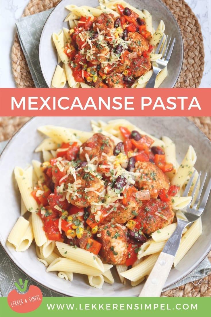 Mexicaanse pasta met kipgehaktballetjes