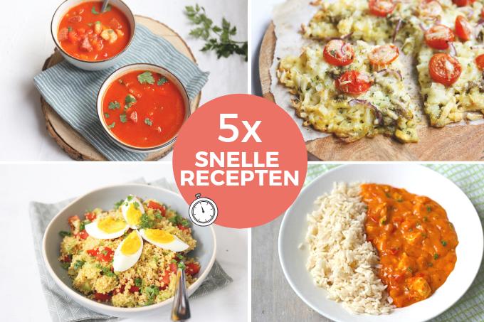 5 recepten die in 30 minuten op tafel staan