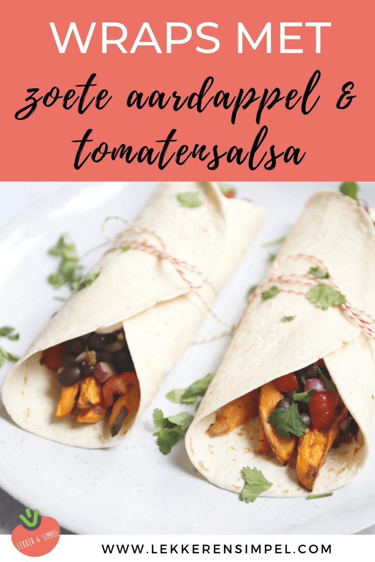 Wraps met zoete aardappel en tomatensalsa