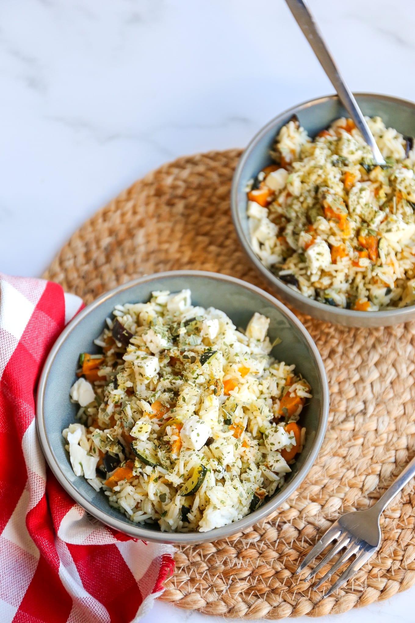 Rijstsalade met gegrilde groenten