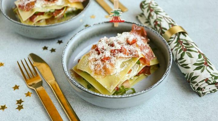 open lasagne met parmaham