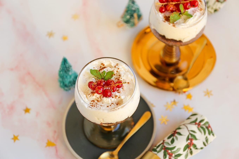 mini kerst cheesecake in een glaasje