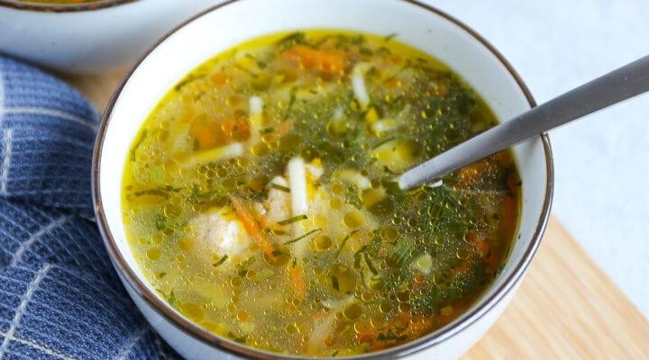 groentesoep met kipballetjes