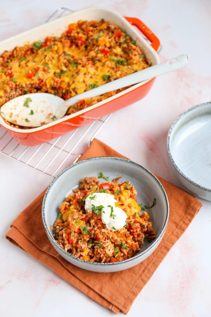 Mexicaanse rijst ovenschotel