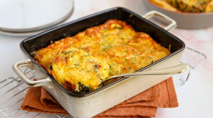 frittata met spinazie en paprika