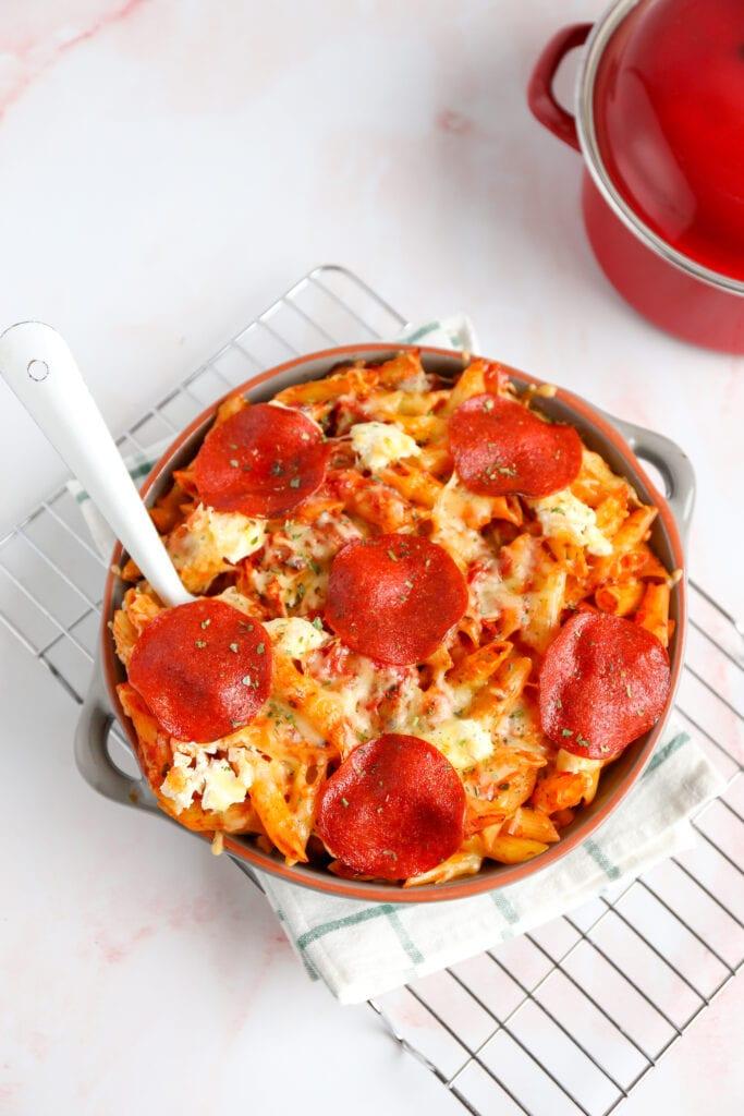 Pasta ovenschotel met pepperoni