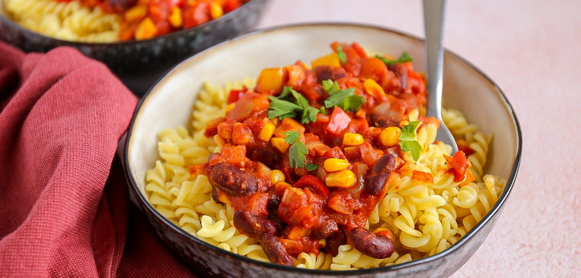 pasta chili sin carne