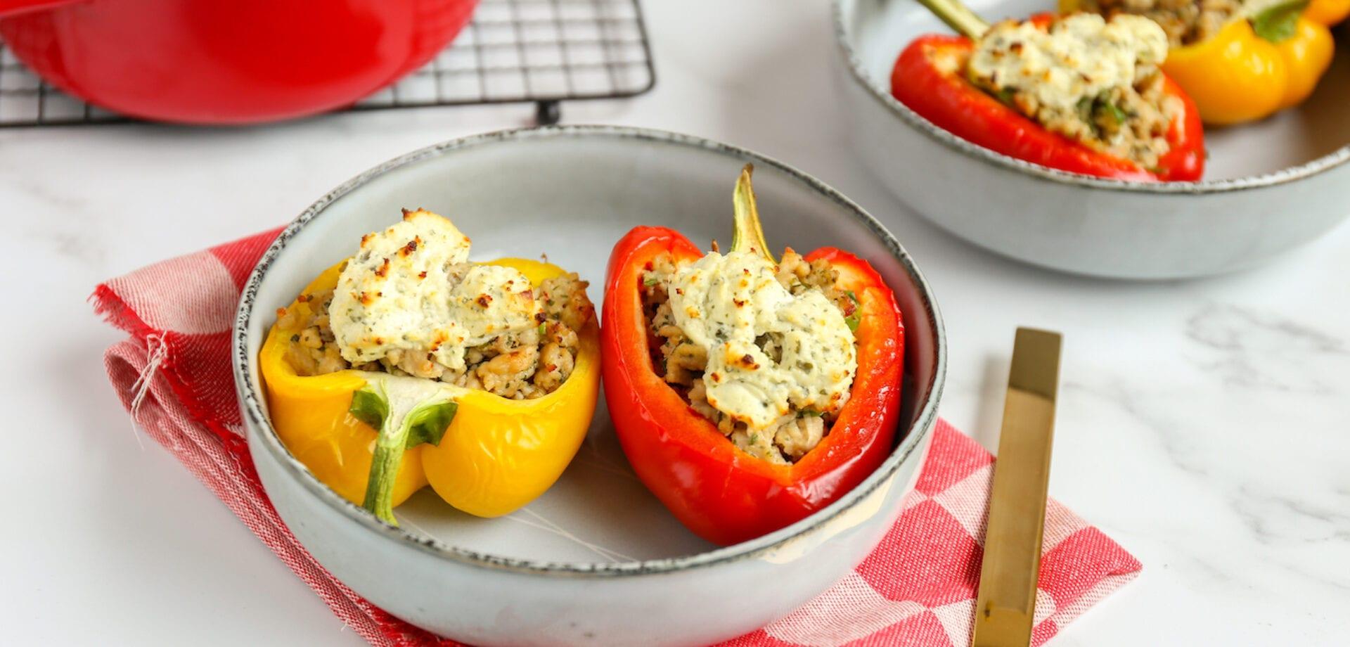 Gevulde paprika's met kipgehakt