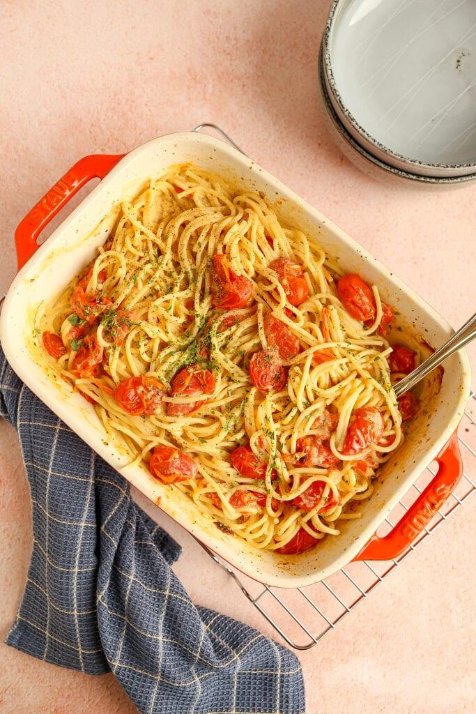 TikTok pasta met kruidenroomkaas