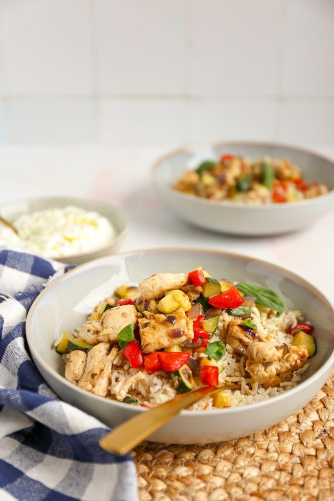 Gyros schotel met kip en rijst