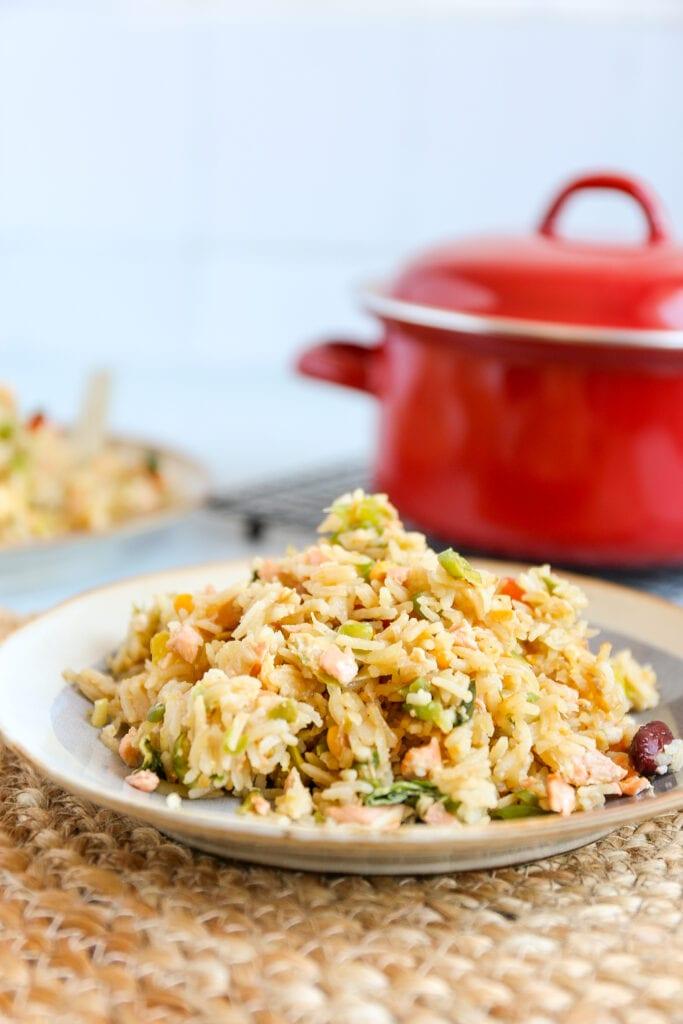 Gebakken rijst met zalm