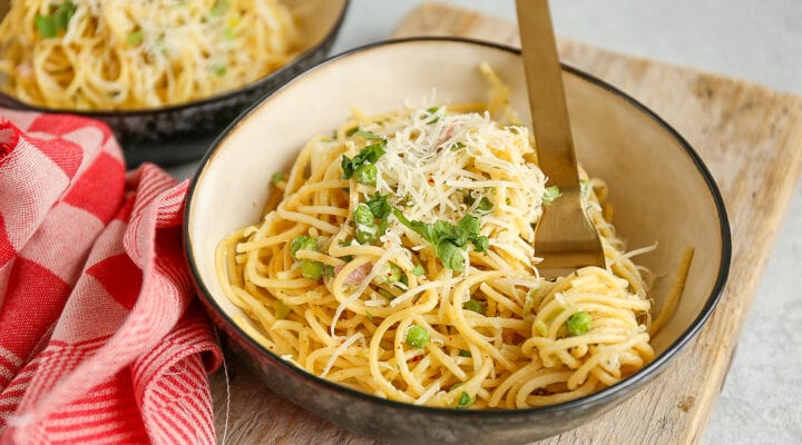 spaghetti met spekjes